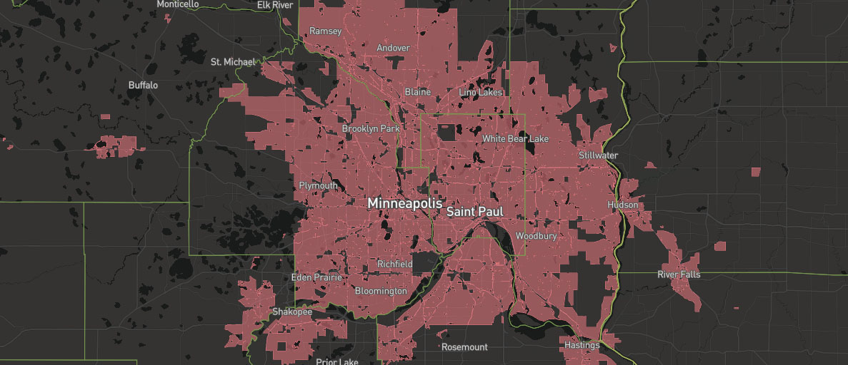 Map of Minneapolis coverage of Xfinity internet services